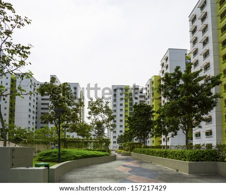 A park leading to a green estate in Singapore.