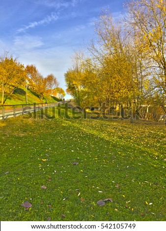 A park near Tormes River in Salamanca in autumn