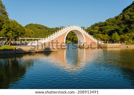a park with beautiful lake in Taipei - stock photo