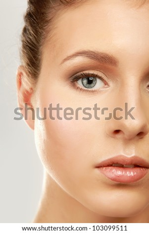 A part of a beautiful female face isolated on white background