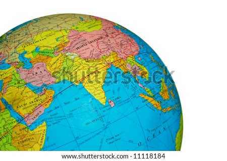 A part of a globe showing the India, China, Iran, Pakistan, isolated on white - stock photo