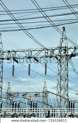 A part of electrical substation steps down high voltage electricity for domestic distribution