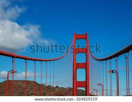 A part of Golden Gate bridge (San Francisco), view from road