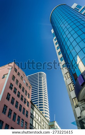 A part of modern building from low angle at evening  in Auckland, New Zealand - stock photo