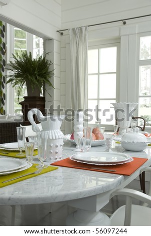A part of table in dinning room - stock photo