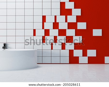 a part of the bathroom, rendering - stock photo
