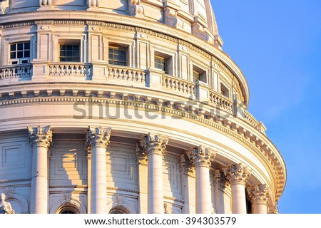 A partial view of the Wisconsin State Capitol dome in Madison. - stock photo