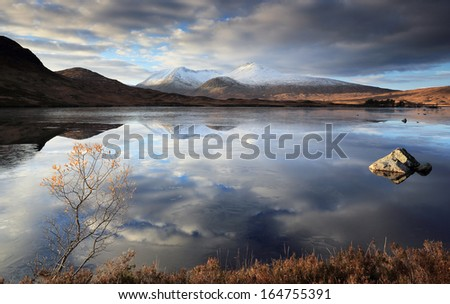 A partially frozen Lochan na h-Achlaise and the Black Mount mountain range, Rannoch Moor near Glencoe,Scotland. - stock photo