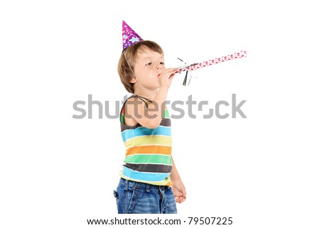 A party child celebrating isolated on white background - stock photo