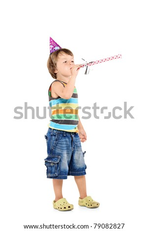 A party children celebrating isolated against white background - stock photo