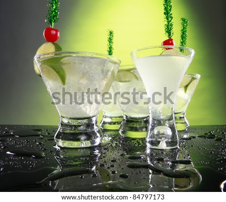 A party of Caipirinhas or sweet and sour cocktails - stock photo