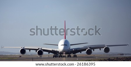 A380 passenger aircraft, front view. - stock photo