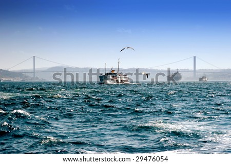 A passenger boat makes a trip in Istanbul