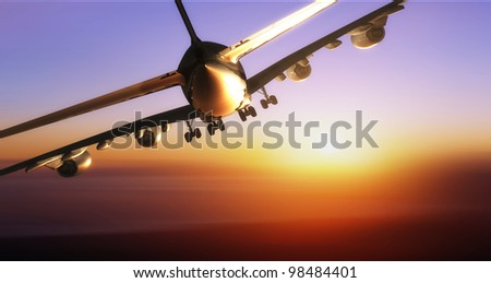 A passenger plane in the sky - stock photo