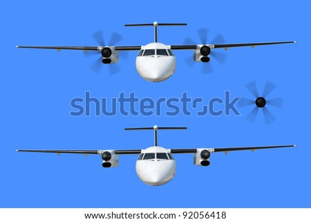A passenger plane, isolated on a blue background - stock photo