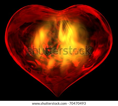 A passionate burning heart - stock photo