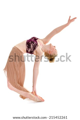 A passionate teenage contemporary dancer mid routine - stock photo
