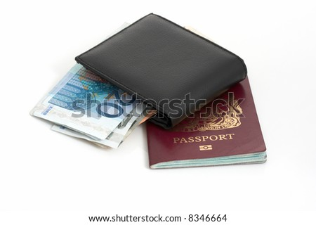 A passport and a wallet with euro money bills