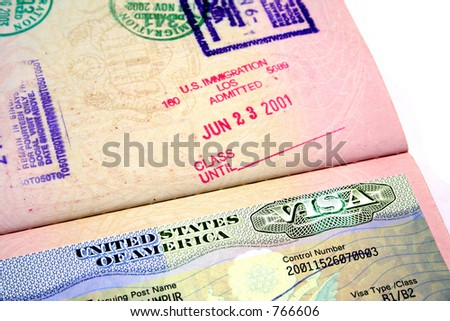 A passport with the American visa. - stock photo