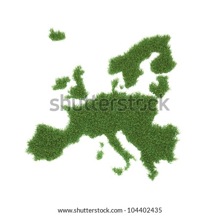 A patch of grass shaped like European map - stock photo