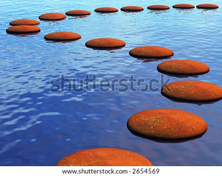 A path across the river made from stepping stones - stock photo