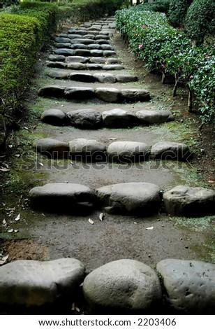 A path in Japanese Garden - stock photo