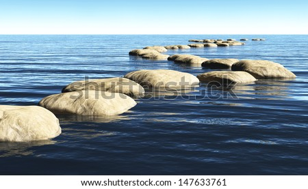 a path made of stones that stay above the surface of deep water, winds toward a unknown destination in a sunny day - stock photo