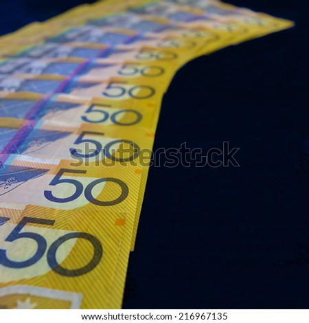 A Path of Australian Fifty Dollar Notes - stock photo