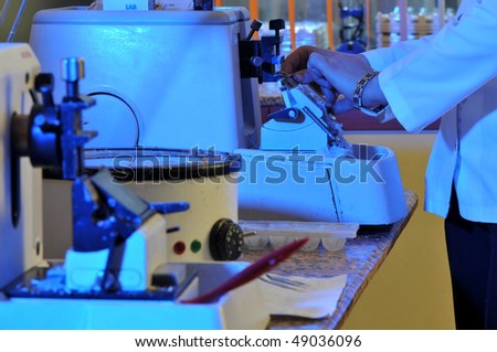 A pathologist working at pathology lab. A series of laboratory related pictures. - stock photo