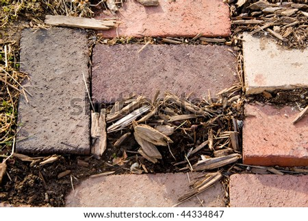 A pathway of red bricks and mulch along with dried grass and weeds. - stock photo