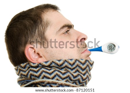 A patient man with a thermometer on white background. - stock photo