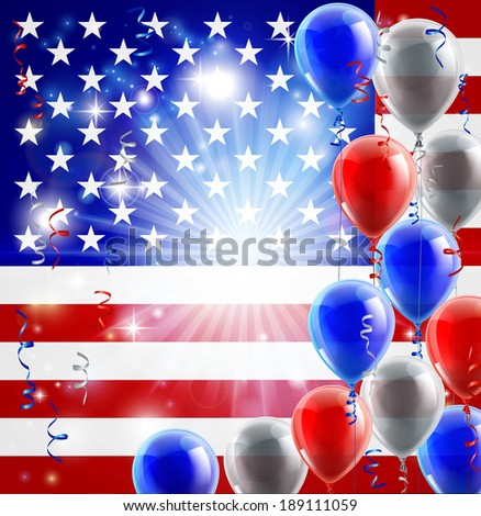 A patriotic American USA 4th July or veterans day background with red white and blue party balloons - stock photo