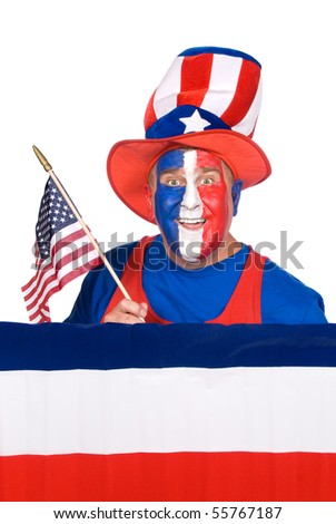 A patriotic man on fourth of July. - stock photo