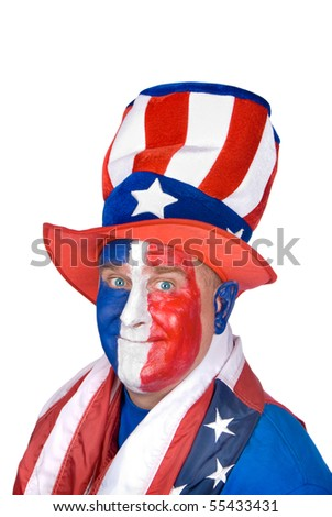 A patriotic man wearing red, white and blue face paint and colorful hat in celebration of the Fourth of July.