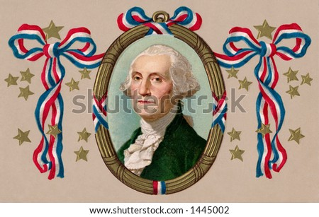 A patriotic portrait of President George Washington -  A circa 1912 vintage illustration - stock photo