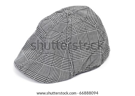 a patterned black and white cap isolated on a white background