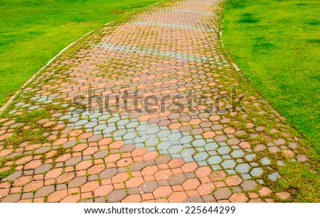 A paved pathway for walking in gardens - stock photo