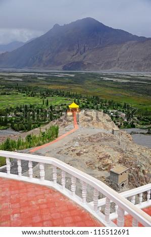 A pavilion at Diskit monastery, Ladakh, India - stock photo