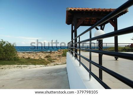 a Pavilion on the beach - stock photo