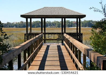A pavillion overlooking a marsh in Hilton Head, South Carolina - stock photo