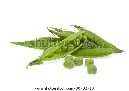 a pea green is in a pod on a white background