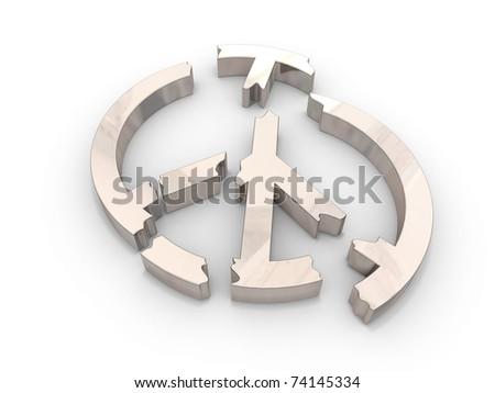 a peace symbol broken into pieces - stock photo
