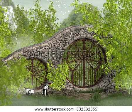 A peaceful Asian setting with baby pandas and bamboo. - stock photo