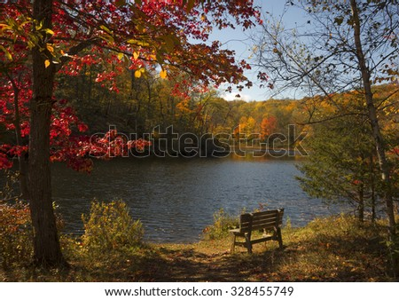 A peaceful Autumn scene with colorful foliage, lake and park bench in rural New York.
