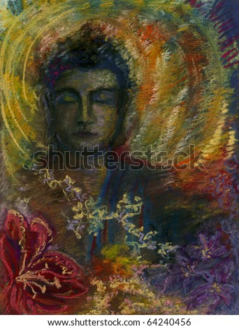A Peaceful Head of the Buddha with a Halo of Gold and Flowers in the Foreground. Original Pastel Drawing. - stock photo