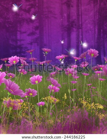 A peaceful nature background with foliage and flowers. - stock photo