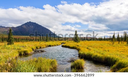 A peaceful, slow-moving creek cuts through the lowlands along the Denali highway in Alaska. - stock photo