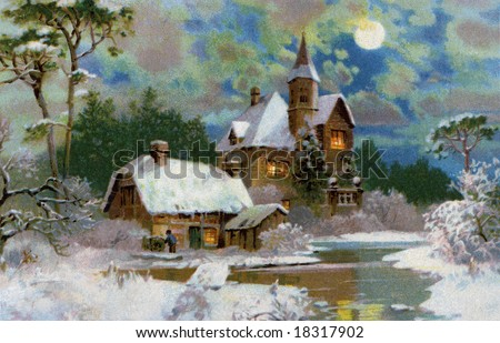 A Peaceful Winter Scenic - a 1907 vintage Christmas illustration - stock photo