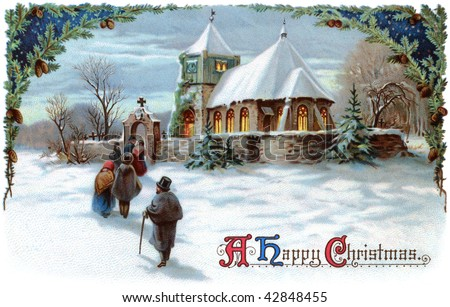 A Peaceful Winter Scenic. Going to church on Christmas Eve - a 1911 vintage Xmas card illustration - stock photo