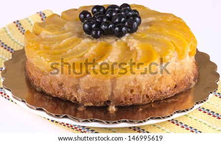 a peach upside down cake - stock photo